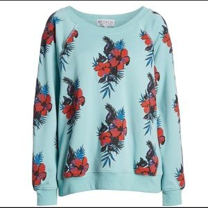 Wildfox Teal Hibiscus Sweater!!!